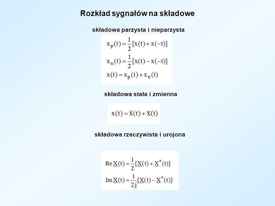 Rozkład sygnałów na składowe składowa parzysta i nieparzysta składowa parzysta i nieparzysta składowa stała i zmienna składowa stała i zmienna składow