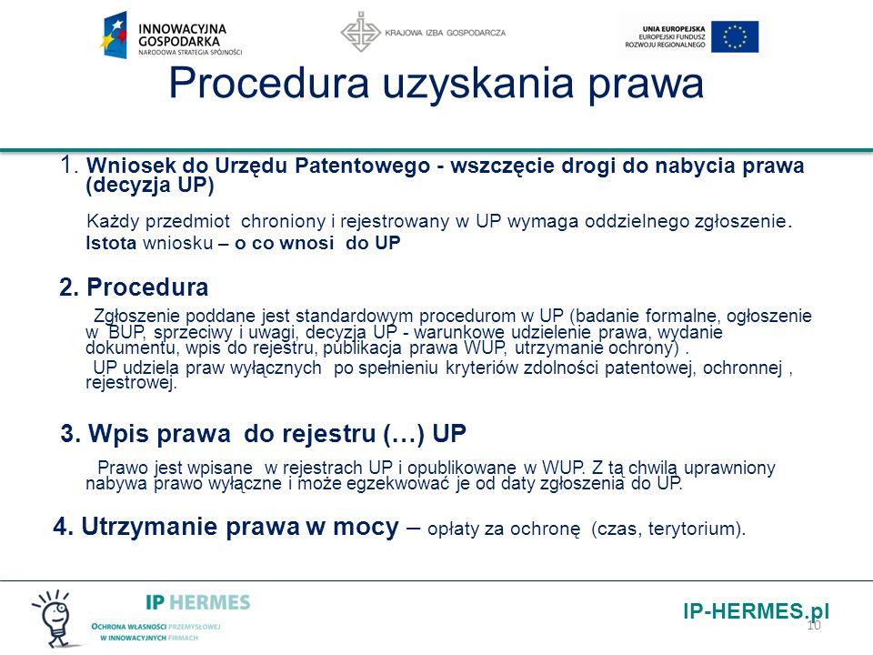 IP-HERMES.pl Procedura uzyskania prawa 1. Wniosek do Urzędu Patentowego - wszczęcie drogi do nabycia prawa (decyzja UP) Każdy przedmiot chroniony i re