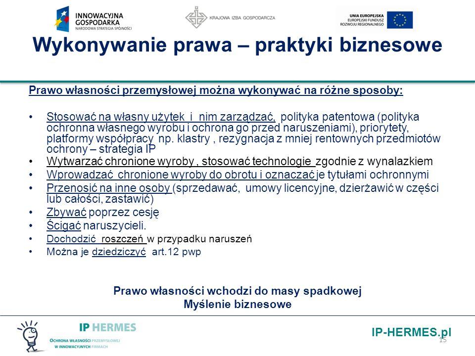 IP-HERMES.pl Wykonywanie prawa – praktyki biznesowe Prawo własności przemysłowej można wykonywać na różne sposoby: Stosować na własny użytek i nim zar