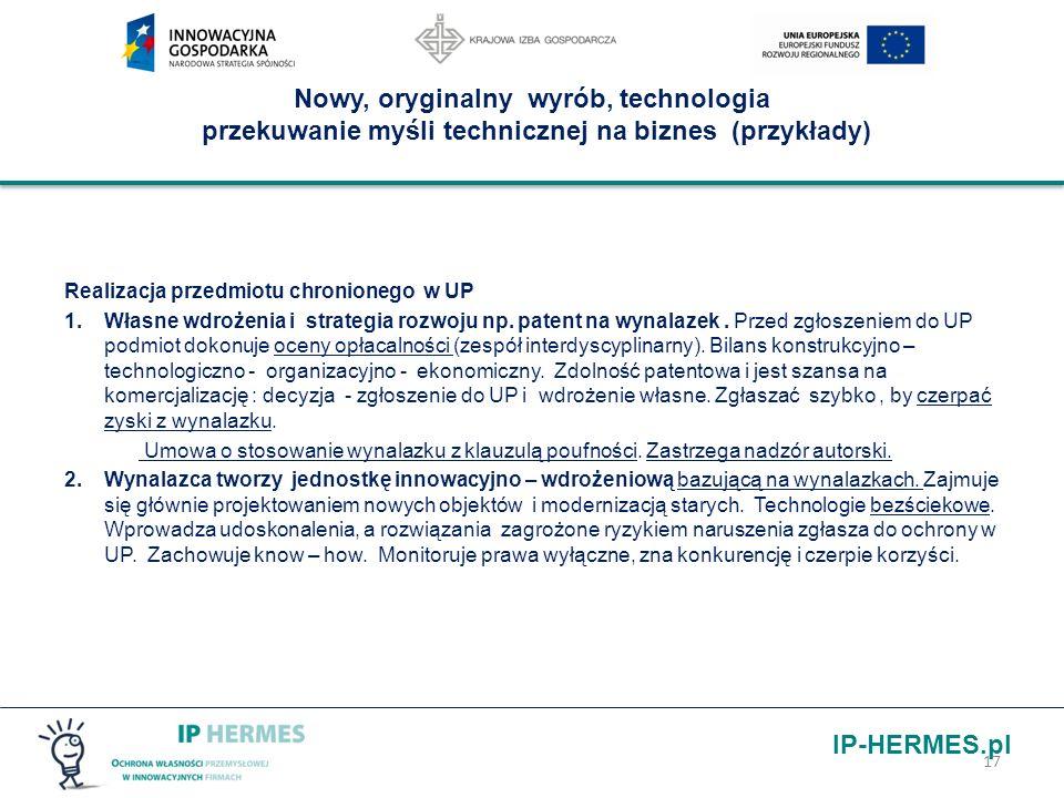 IP-HERMES.pl Nowy, oryginalny wyrób, technologia przekuwanie myśli technicznej na biznes (przykłady) Realizacja przedmiotu chronionego w UP 1.Własne w