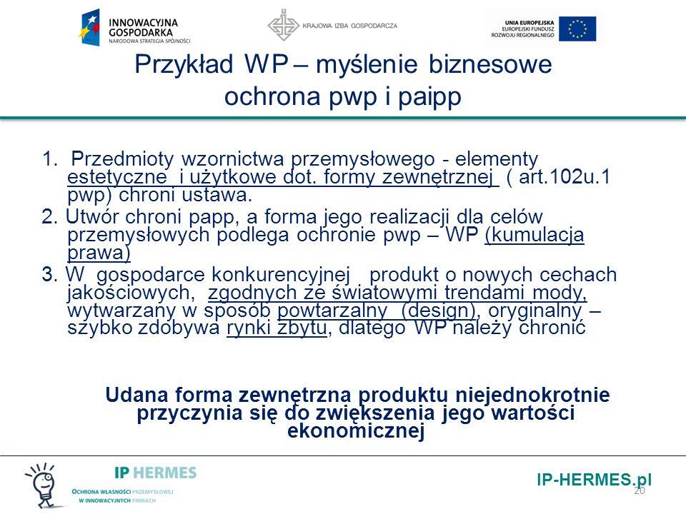 IP-HERMES.pl Przykład WP – myślenie biznesowe ochrona pwp i paipp 1. Przedmioty wzornictwa przemysłowego - elementy estetyczne i użytkowe dot. formy z
