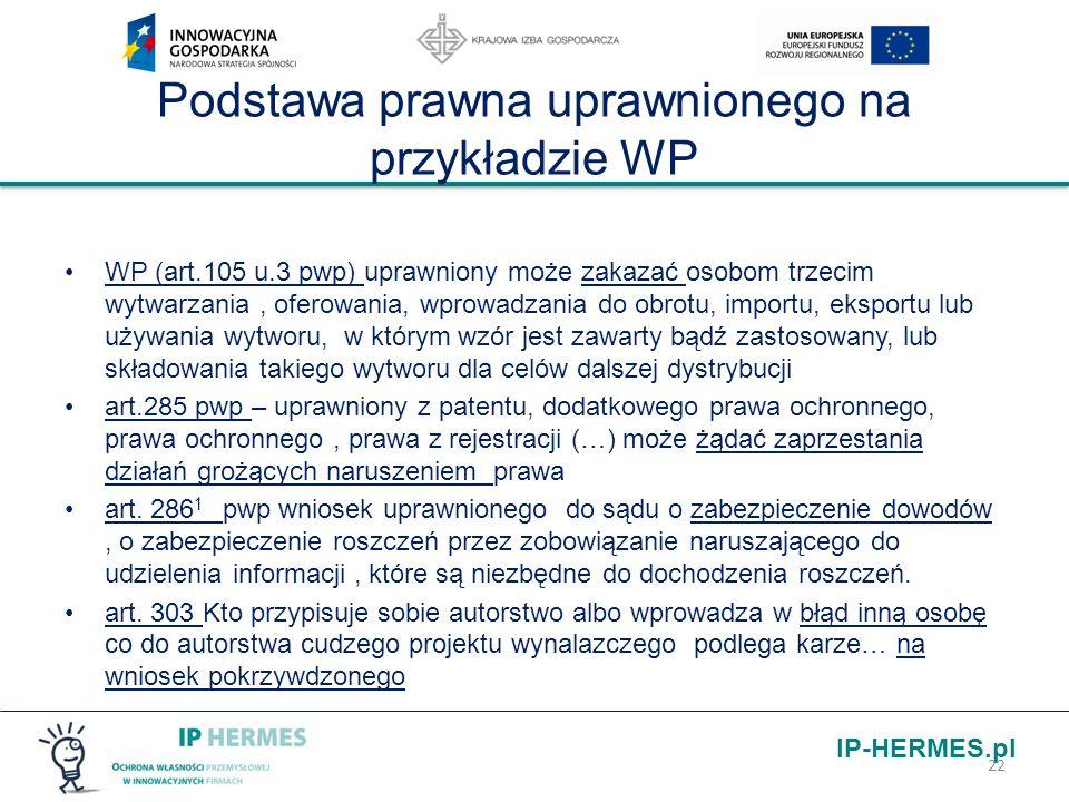 IP-HERMES.pl Podstawa prawna uprawnionego na przykładzie WP WP (art.105 u.3 pwp) uprawniony może zakazać osobom trzecim wytwarzania, oferowania, wprow
