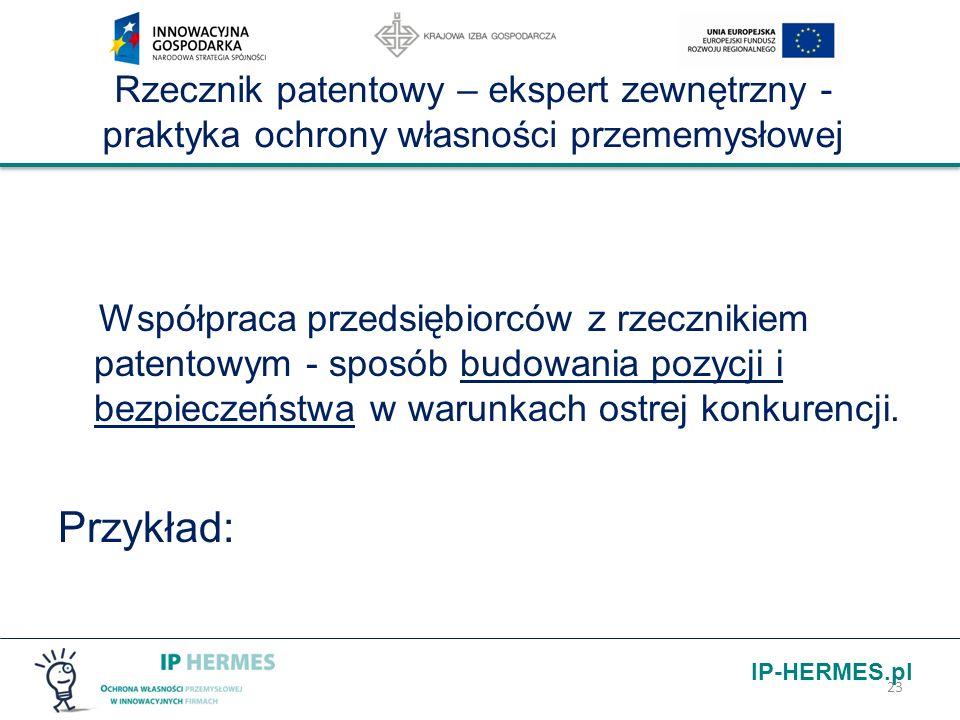 IP-HERMES.pl Rzecznik patentowy – ekspert zewnętrzny - praktyka ochrony własności przememysłowej Współpraca przedsiębiorców z rzecznikiem patentowym -