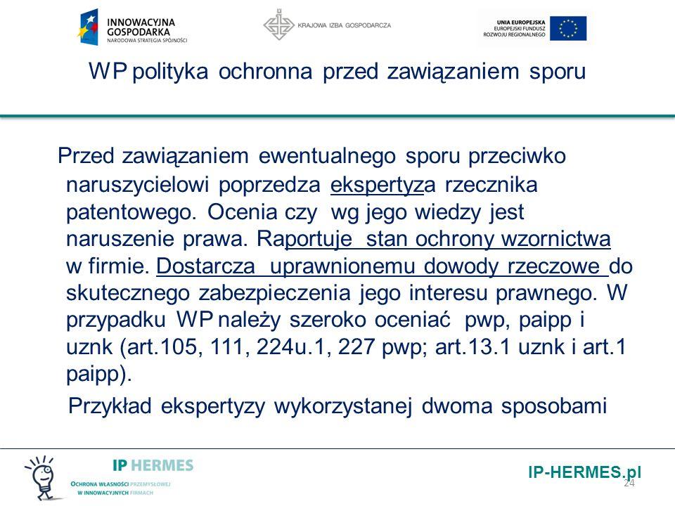 IP-HERMES.pl WP polityka ochronna przed zawiązaniem sporu Przed zawiązaniem ewentualnego sporu przeciwko naruszycielowi poprzedza ekspertyza rzecznika