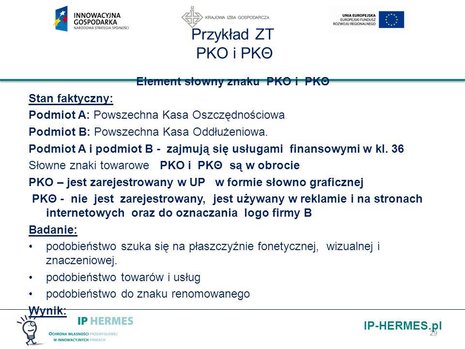 IP-HERMES.pl Przykład ZT PKO i PKΘ Element słowny znaku PKO i PKΘ Stan faktyczny: Podmiot A: Powszechna Kasa Oszczędnościowa Podmiot B: Powszechna Kas