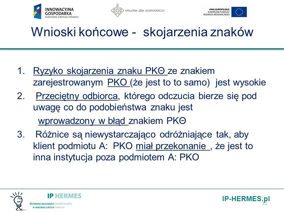 IP-HERMES.pl Wnioski końcowe - skojarzenia znaków 1.Ryzyko skojarzenia znaku PKΘ ze znakiem zarejestrowanym PKO (że jest to to samo) jest wysokie 2. P
