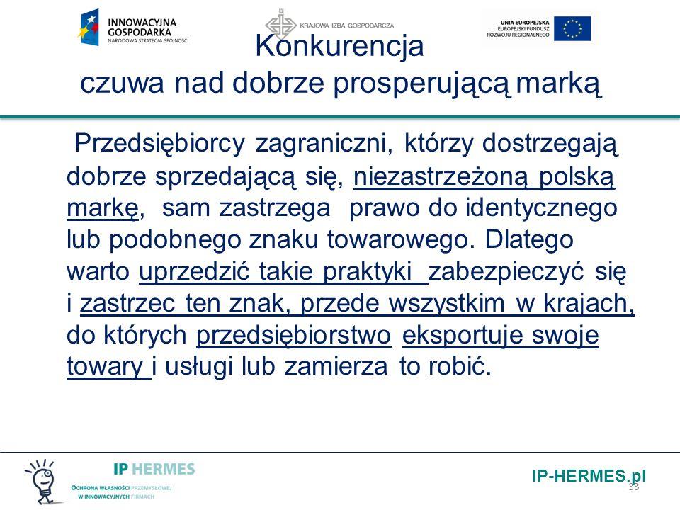 IP-HERMES.pl Konkurencja czuwa nad dobrze prosperującą marką Przedsiębiorcy zagraniczni, którzy dostrzegają dobrze sprzedającą się, niezastrzeżoną pol