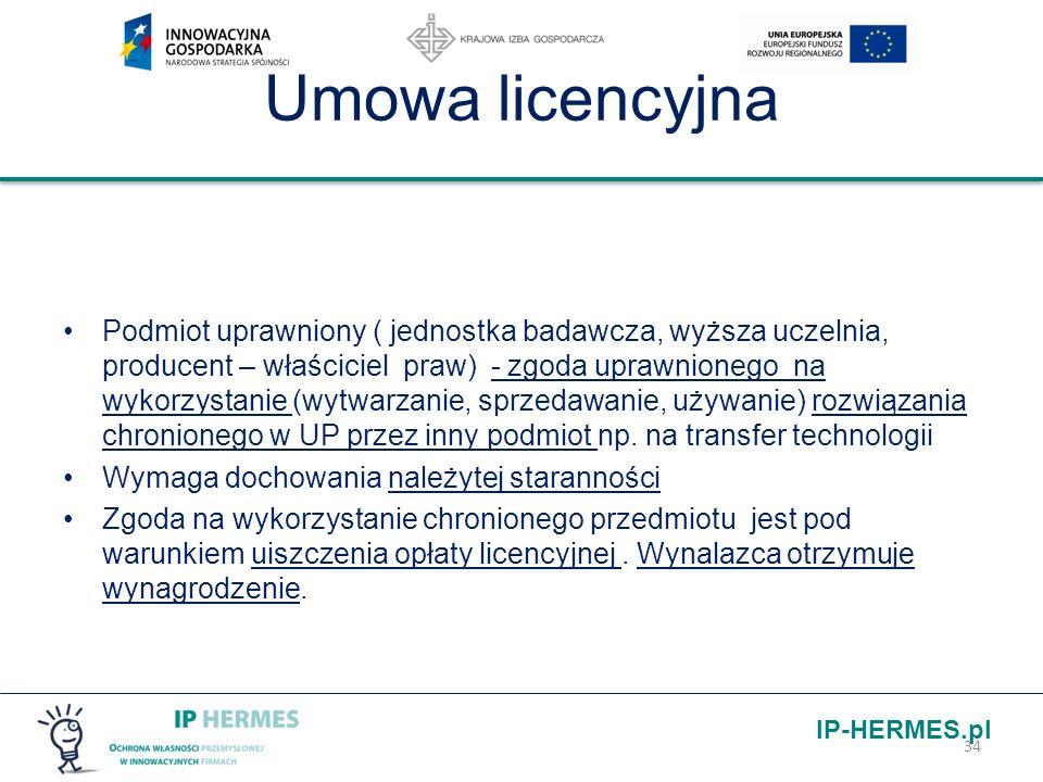 IP-HERMES.pl Umowa licencyjna Podmiot uprawniony ( jednostka badawcza, wyższa uczelnia, producent – właściciel praw) - zgoda uprawnionego na wykorzyst