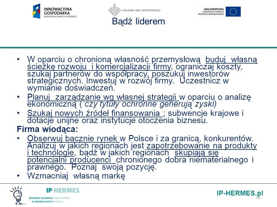 IP-HERMES.pl Bądź liderem W oparciu o chronioną własność przemysłową buduj własną ścieżkę rozwoju i komercjalizacji firmy, ograniczaj koszty, szukaj p