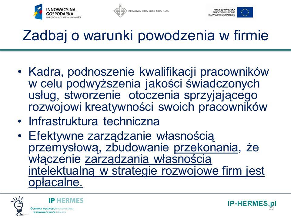 IP-HERMES.pl Zadbaj o warunki powodzenia w firmie Kadra, podnoszenie kwalifikacji pracowników w celu podwyższenia jakości świadczonych usług, stworzen