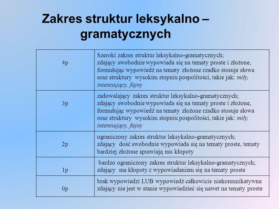 Zakres struktur leksykalno – gramatycznych 4p Szeroki zakres struktur leksykalno-gramatycznych; zdający swobodnie wypowiada się na tematy proste i złożone, formułując wypowiedź na tematy złożone rzadko stosuje słowa oraz struktury wysokim stopniu pospolitości, takie jak: miły, interesujący, fajny 3p zadowalający zakres struktur leksykalno-gramatycznych; zdający swobodnie wypowiada się na tematy proste i złożone, formułując wypowiedź na tematy złożone rzadko stosuje słowa oraz struktury wysokim stopniu pospolitości, takie jak: miły, interesujący, fajny 2p ograniczony zakres struktur leksykalno-gramatycznych; zdający dość swobodnie wypowiada się na tematy proste, tematy bardziej złożone sprawiają mu kłopoty 1p bardzo ograniczony zakres struktur leksykalno-gramatycznych; zdający ma kłopoty z wypowiadaniem się na tematy proste 0p brak wypowiedzi LUB wypowiedź całkowicie niekomunikatywna zdający nie jest w stanie wypowiedzieć się nawet na tematy proste