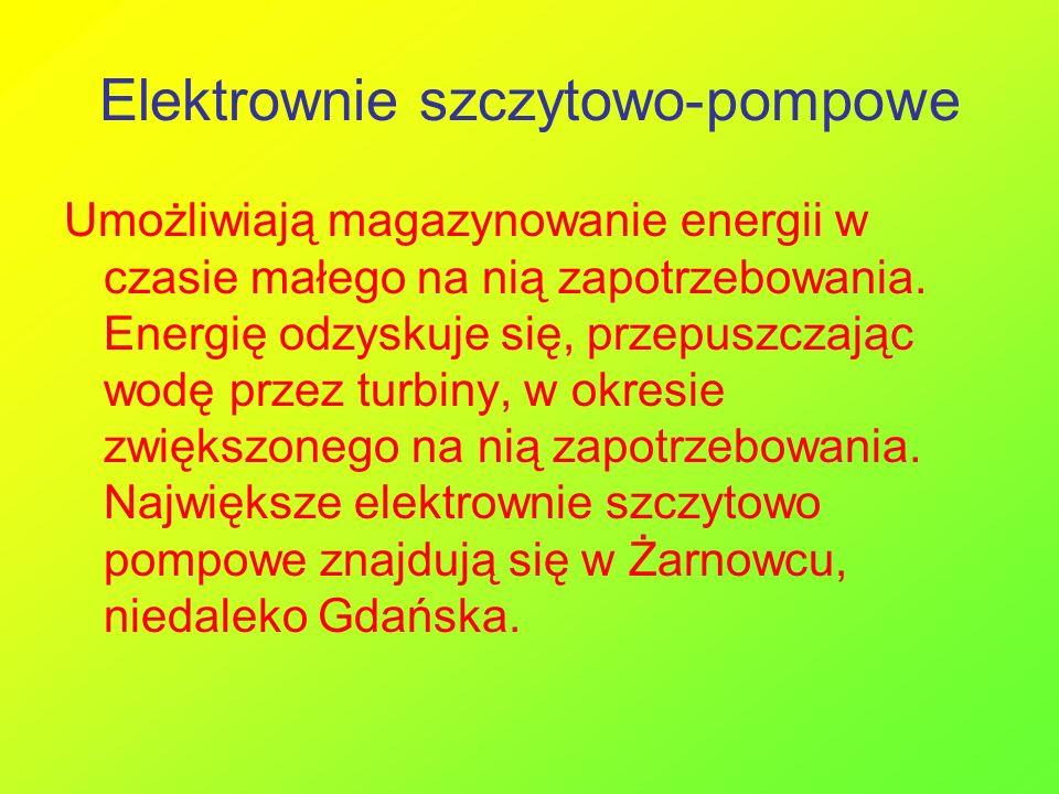 Elektrownie szczytowo-pompowe Umożliwiają magazynowanie energii w czasie małego na nią zapotrzebowania. Energię odzyskuje się, przepuszczając wodę prz