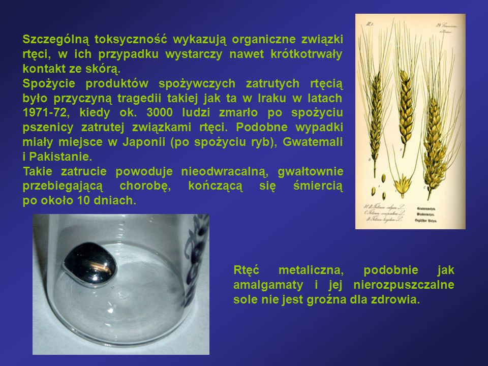 Szczególną toksyczność wykazują organiczne związki rtęci, w ich przypadku wystarczy nawet krótkotrwały kontakt ze skórą.