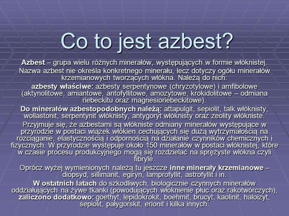 Co to jest azbest? Azbest – grupa wielu różnych minerałów, występujących w formie włóknistej. Nazwa azbest nie określa konkretnego minerału, lecz doty