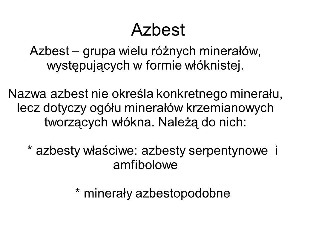 Azbest Azbest – grupa wielu różnych minerałów, występujących w formie włóknistej. Nazwa azbest nie określa konkretnego minerału, lecz dotyczy ogółu mi