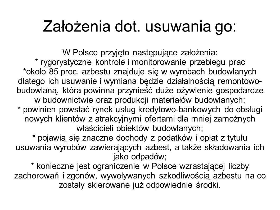 Założenia dot. usuwania go: W Polsce przyjęto następujące założenia: * rygorystyczne kontrole i monitorowanie przebiegu prac *około 85 proc. azbestu z