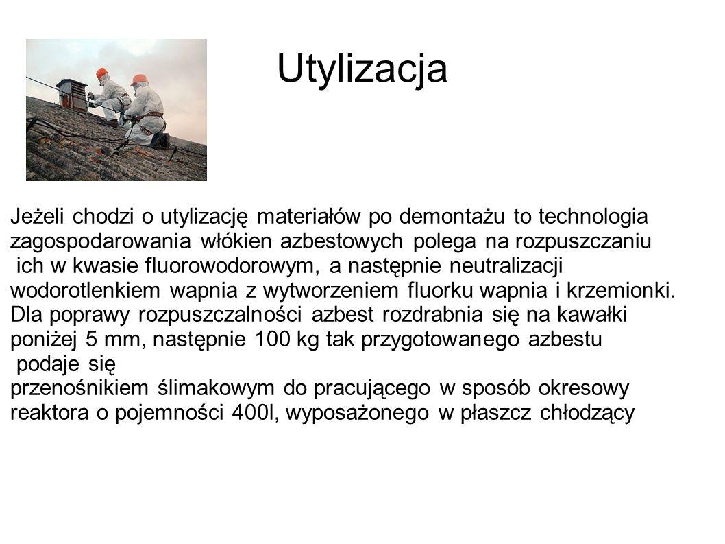 Utylizacja Jeżeli chodzi o utylizację materiałów po demontażu to technologia zagospodarowania włókien azbestowych polega na rozpuszczaniu ich w kwasie