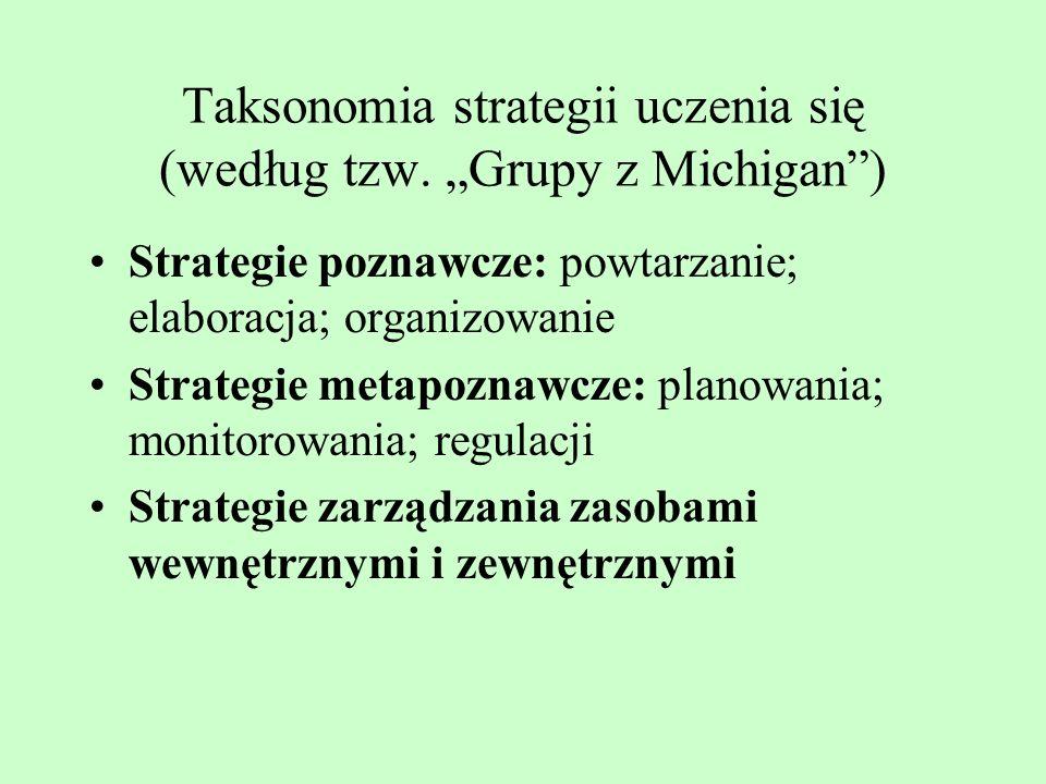 Kryteria opisu strategii pamięciowych c.d. Rodzaj działań: strategie werbalne i niewerbalne Poziom złożoności działań: strategie proste i złożone Stop