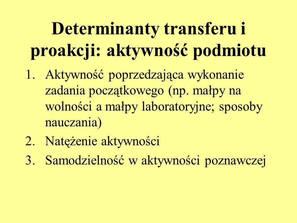 Determinanty transferu i proakcji: cechy podmiotu 1.Inteligencja: u osób w normie intelektualnej transfer zachodzi szybciej, jest bardziej rozległy i