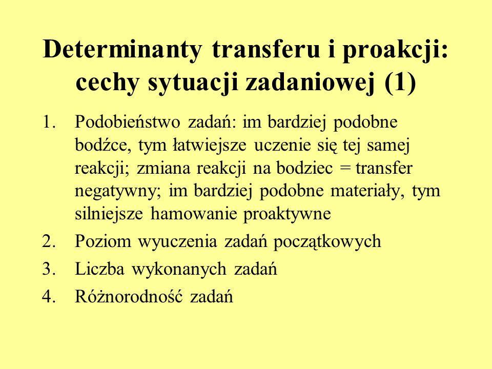 Determinanty transferu i proakcji: aktywność podmiotu 1.Aktywność poprzedzająca wykonanie zadania początkowego (np. małpy na wolności a małpy laborato