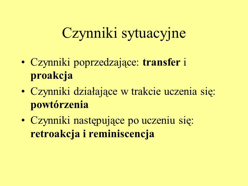 Czynniki sytuacyjne Czynniki poprzedzające: transfer i proakcja Czynniki działające w trakcie uczenia się: powtórzenia Czynniki następujące po uczeniu się: retroakcja i reminiscencja