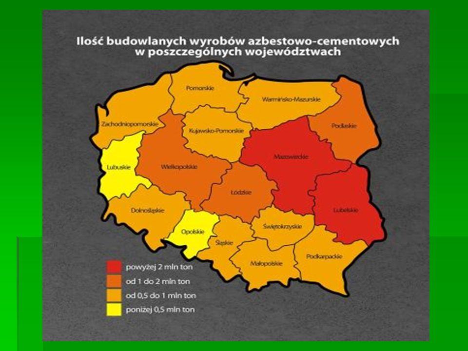 Ile jest azbestu? Ile jest azbestu? Szacuje się, że w roku 2009 w Polsce pozostało w użytkowaniu około 14,5 mln ton wyrobów azbestowych. Szacuje się,