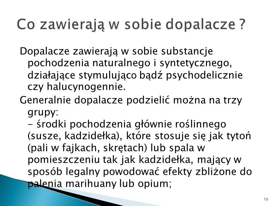 Dopalacze zawierają w sobie substancje pochodzenia naturalnego i syntetycznego, działające stymulując o bądź psychodelicznie czy halucynogennie.