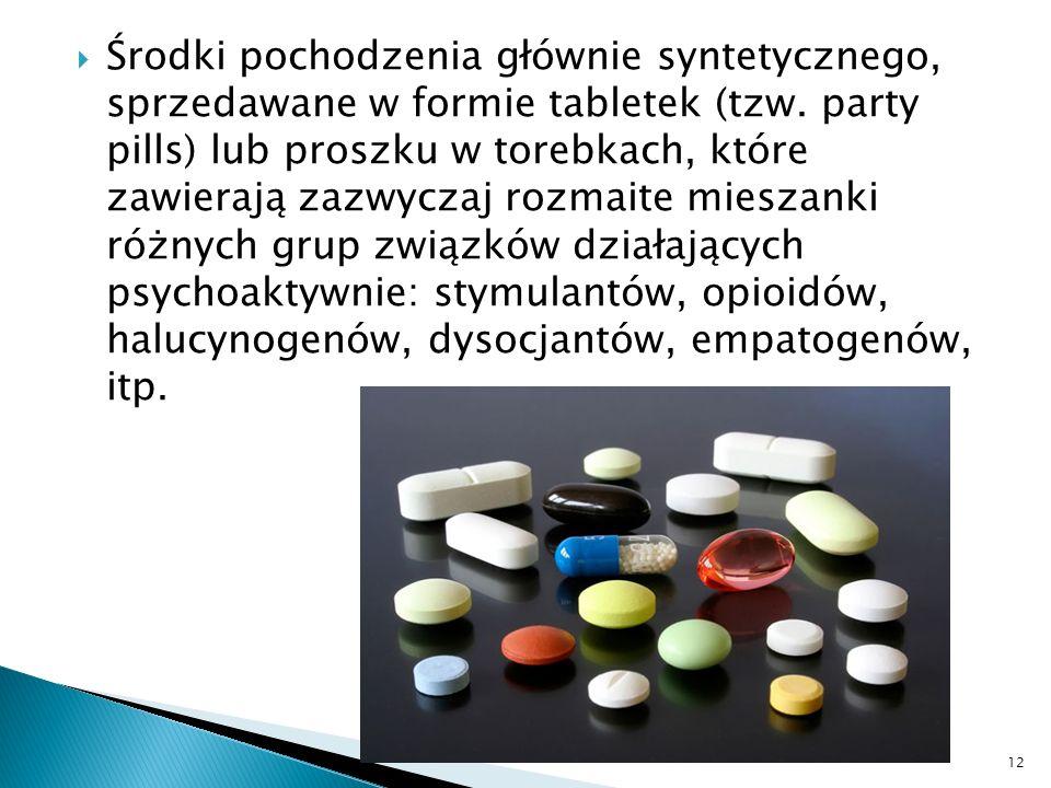 Środki pochodzenia głównie syntetycznego, sprzedawane w formie tabletek (tzw. party pills) lub proszku w torebkach, które zawierają zazwyczaj rozmaite