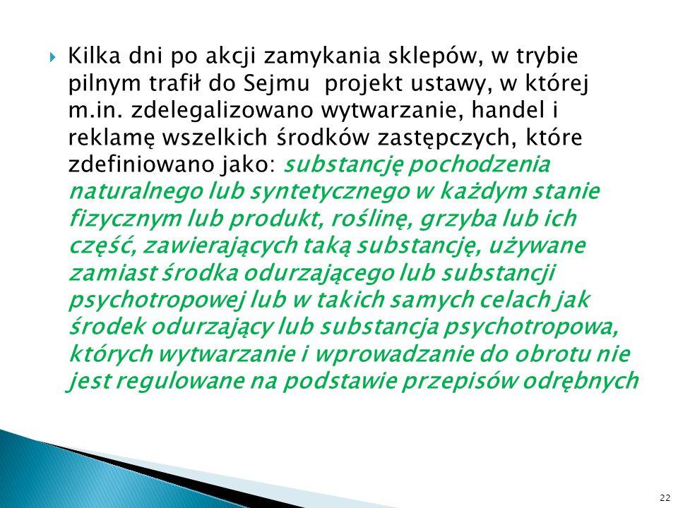 Kilka dni po akcji zamykania sklepów, w trybie pilnym trafił do Sejmu projekt ustawy, w której m.in. zdelegalizowano wytwarzanie, handel i reklamę wsz