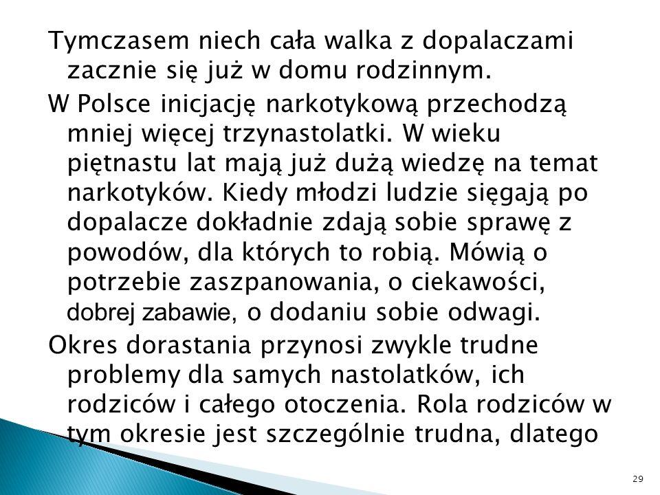 Tymczasem niech cała walka z dopalaczami zacznie się już w domu rodzinnym. W Polsce inicjację narkotykową przechodzą mniej więcej trzynastolatki. W wi