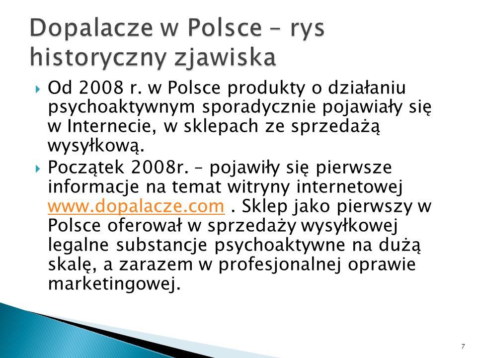 Od 2008 r. w Polsce produkty o działaniu psychoaktywnym sporadycznie pojawiały się w Internecie, w sklepach ze sprzedażą wysyłkową. Początek 2008r. –