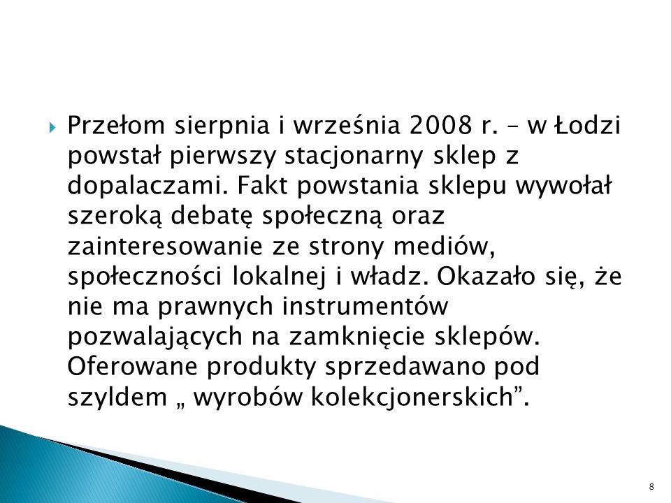 Przełom sierpnia i września 2008 r. – w Łodzi powstał pierwszy stacjonarny sklep z dopalaczami. Fakt powstania sklepu wywołał szeroką debatę społeczną