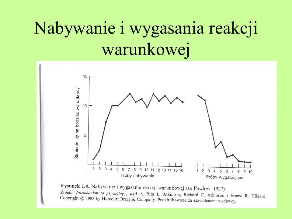 Iwan Pawłow Warunkowanie klasyczne Proces nabywania (krzywa esowata) Wygasanie Spontaniczne odnawianie się Następstwo czasowe