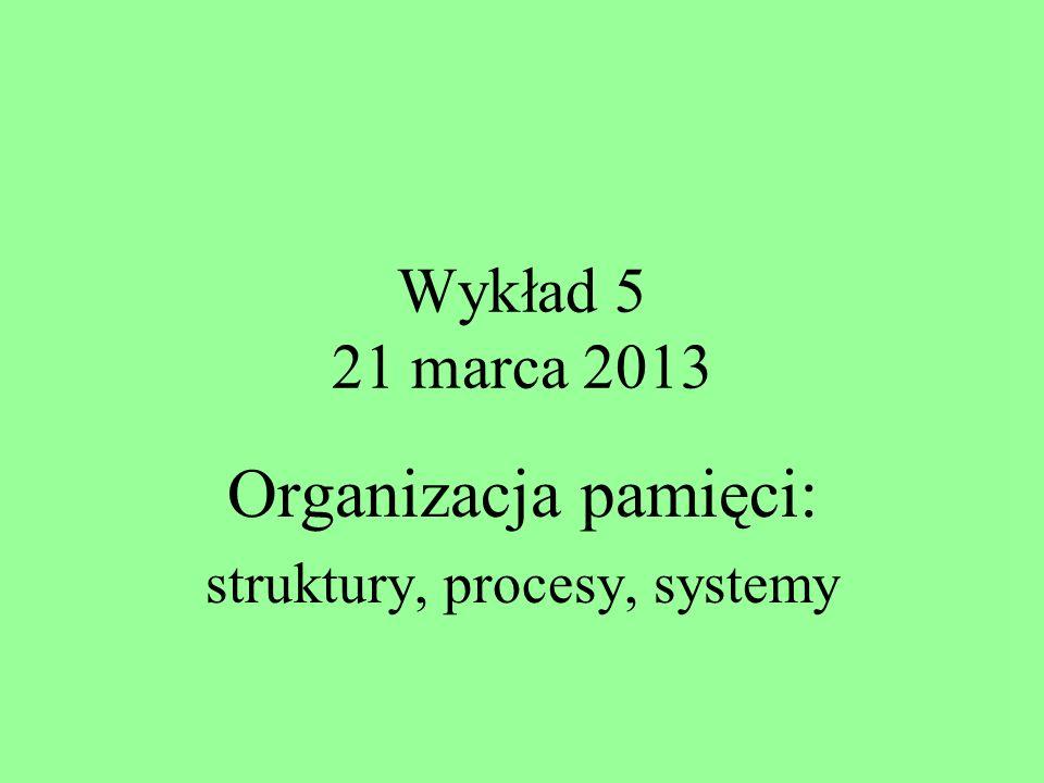 Wykład 5 21 marca 2013 Organizacja pamięci: struktury, procesy, systemy