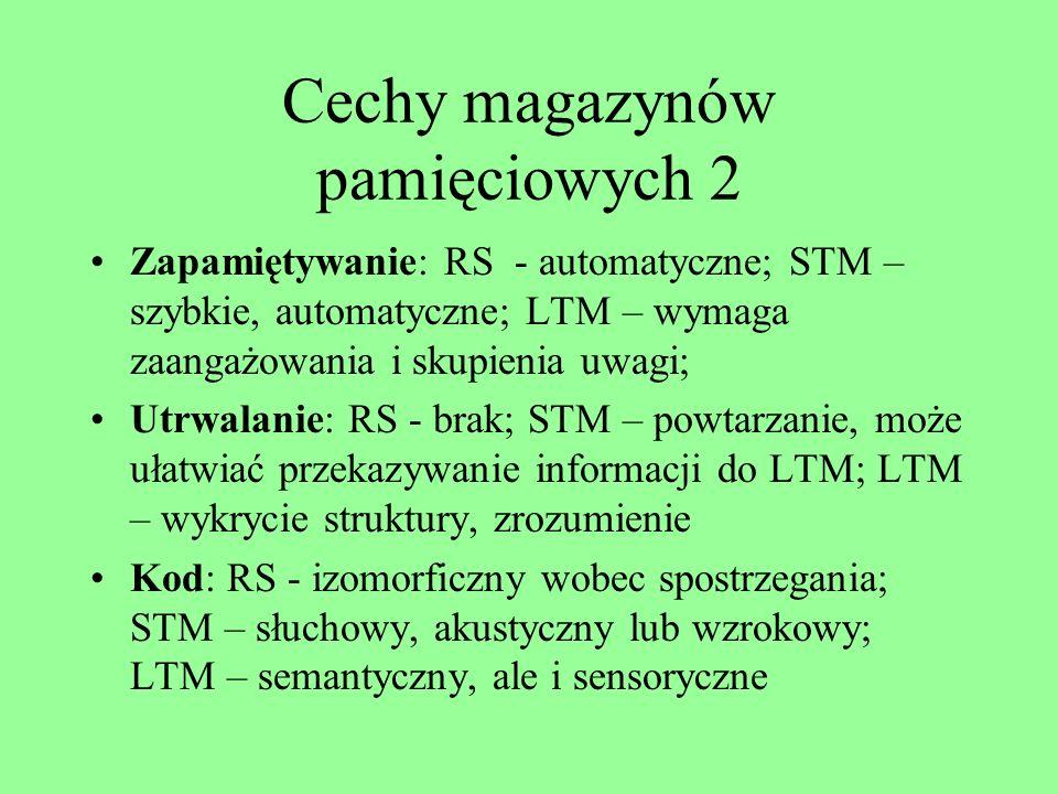 Cechy magazynów pamięciowych Czas przechowywania: RS - 0,5 do 1 sekundy; STM – 15-30 sekund lub tyle, ile trwa powtarzanie; LTM – nieograniczony Pojem
