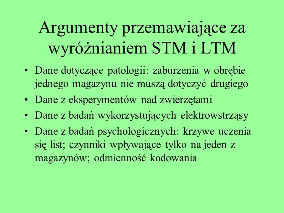 Cechy magazynów pamięciowych 3 Wrażliwość na zapominanie: RS - duża; STM – duża; LTM – mała Dostęp: RS - właściwie brak świadomego dostępu; STM – łatw