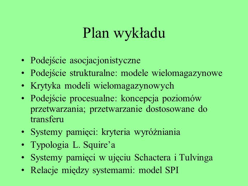 Plan wykładu Podejście asocjacjonistyczne Podejście strukturalne: modele wielomagazynowe Krytyka modeli wielomagazynowych Podejście procesualne: koncepcja poziomów przetwarzania; przetwarzanie dostosowane do transferu Systemy pamięci: kryteria wyróżniania Typologia L.
