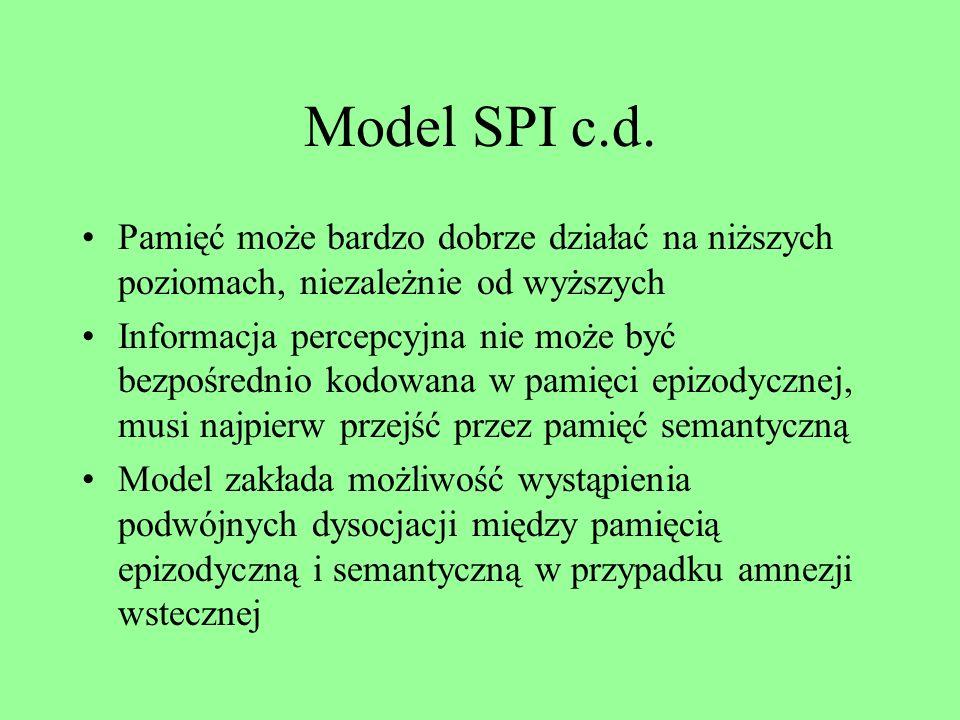 Relacje między systemami: model SPI E. Tulvinga Relacje między trzema systemami – reprezentacji percepcyjnej, pamięcią semantyczną i pamięcią epizodyc