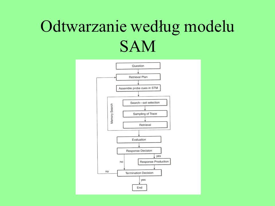 SAM: podstawowe założenia Zapamiętywane elementy mają określoną siłę czy wartość Uczący się powtarza zapamiętywane słowa, tym samym wzmacniając ich si