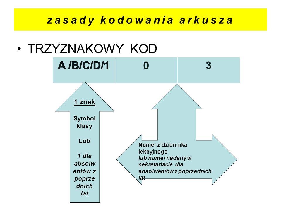 zasady kodowania arkusza TRZYZNAKOWY KOD 03 1 znak Symbol klasy Lub 1 dla absolw entów z poprze dnich lat Numer z dziennika lekcyjnego lub numer nadan