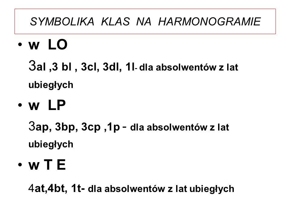 SYMBOLIKA KLAS NA HARMONOGRAMIE w LO 3 al,3 bl, 3cl, 3dl, 1l - dla absolwentów z lat ubiegłych w LP 3 ap, 3bp, 3cp,1p - dla absolwentów z lat ubiegłyc