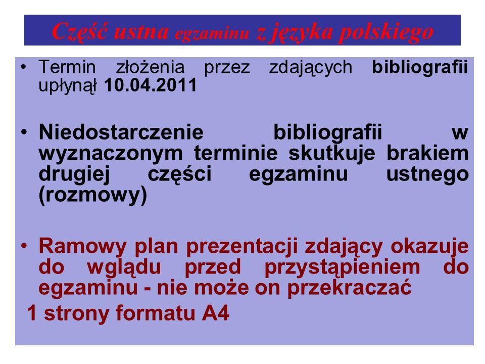 Część ustna egzaminu z języka polskiego Termin złożenia przez zdających bibliografii upłynął 10.04.2011 Niedostarczenie bibliografii w wyznaczonym ter