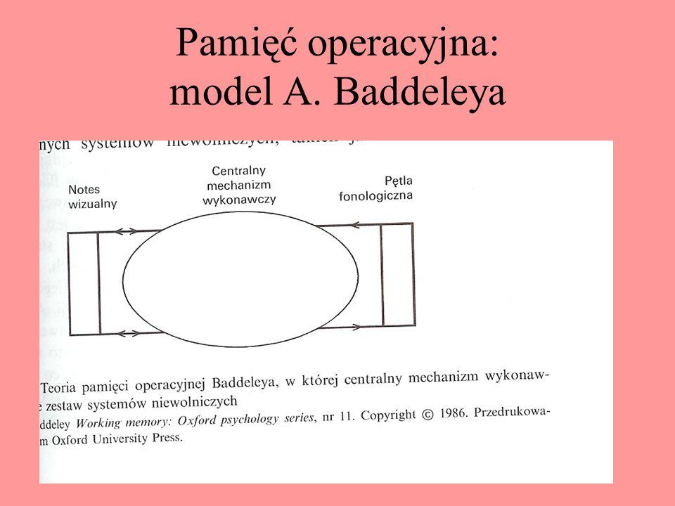 Pamięć kolejności elementów Modele zakładające istnienie uporządkowanych przedziałów w pamięci krótkotrwałej, do których kolejno wprowadzana jest info