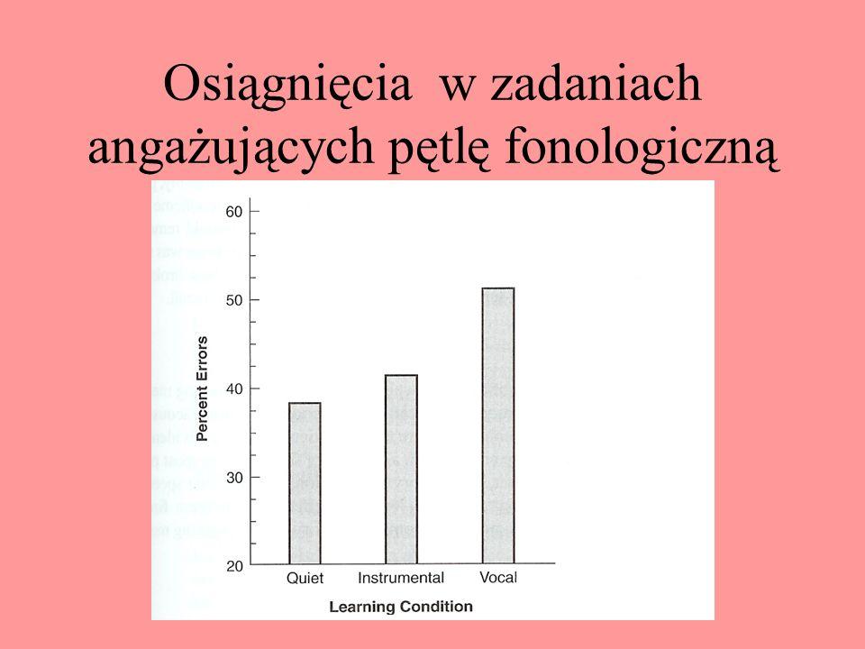 Pętla fonologiczna Pętla fonologiczna składa się z dwóch systemów: magazynu, w którym przechowywana jest informacja (wewnętrzne ucho) oraz systemu mow