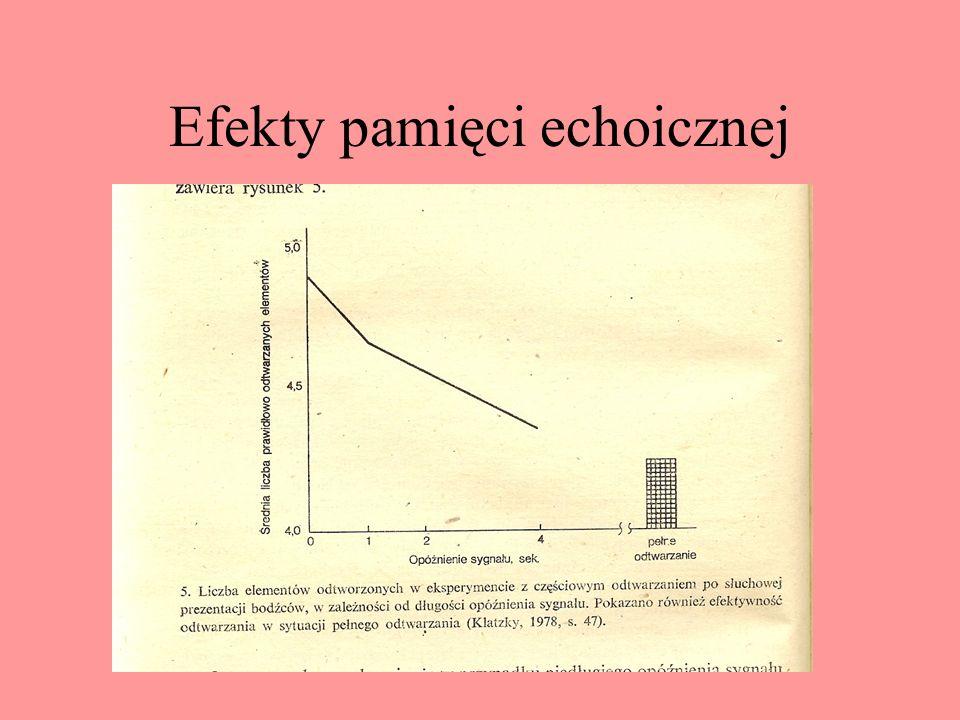 Pamięć echoiczna Procedura badań Moraya, Batesa i Barnetta oraz Darwina, Turveya i Crowdera Zadanie powtarzania – badania Glucksberga i Cowana Czas pr