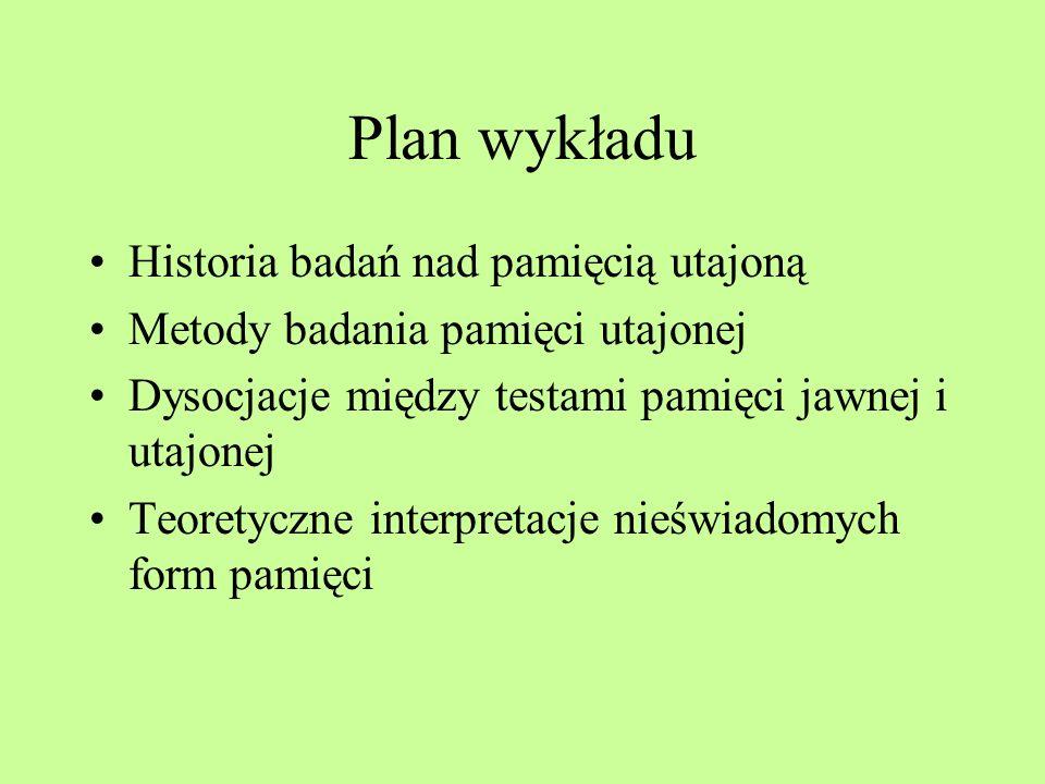 Wykład 12 23 maja 2013 Pamięć utajona (pamięć bez świadomości, ukryta, implicite,)