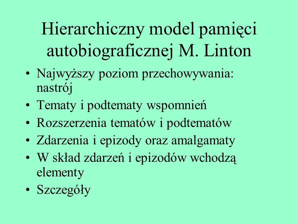 Typologie pamięci autobiograficznej Conway: pamięć okresów życia; pamięć zdarzeń ogólnych, cyklicznych lub pojedynczych; pamięć zdarzeń specyficznych