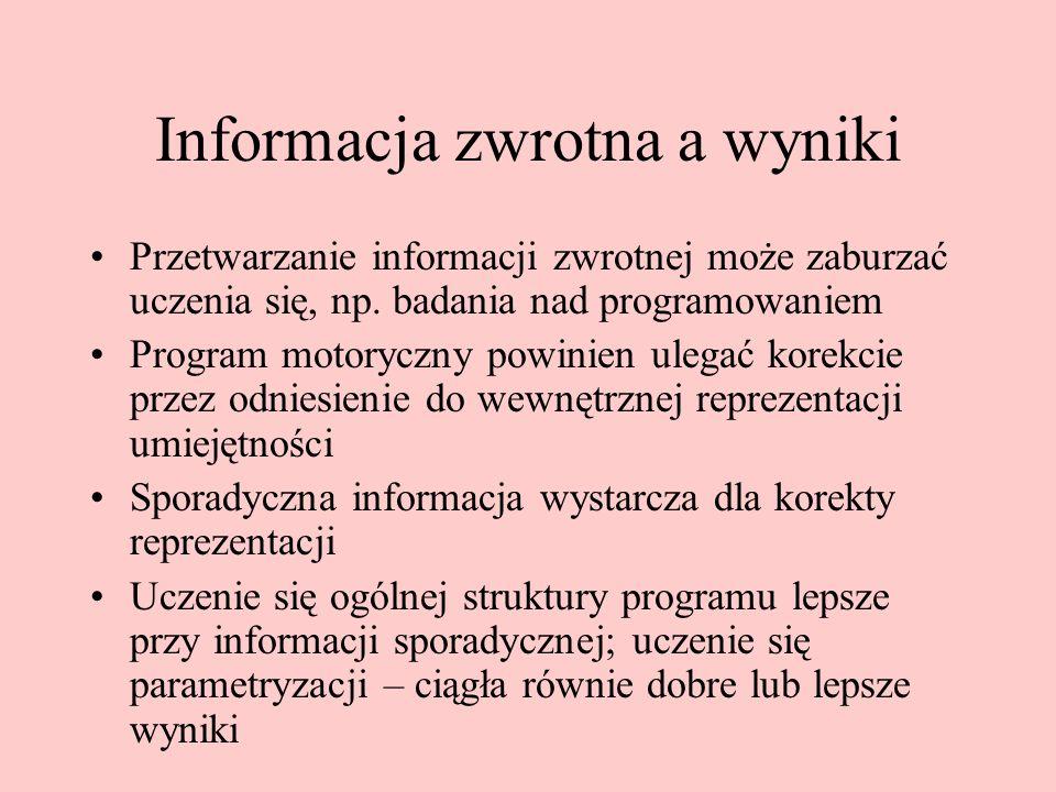 Informacja zwrotna a wyniki Przetwarzanie informacji zwrotnej może zaburzać uczenia się, np.
