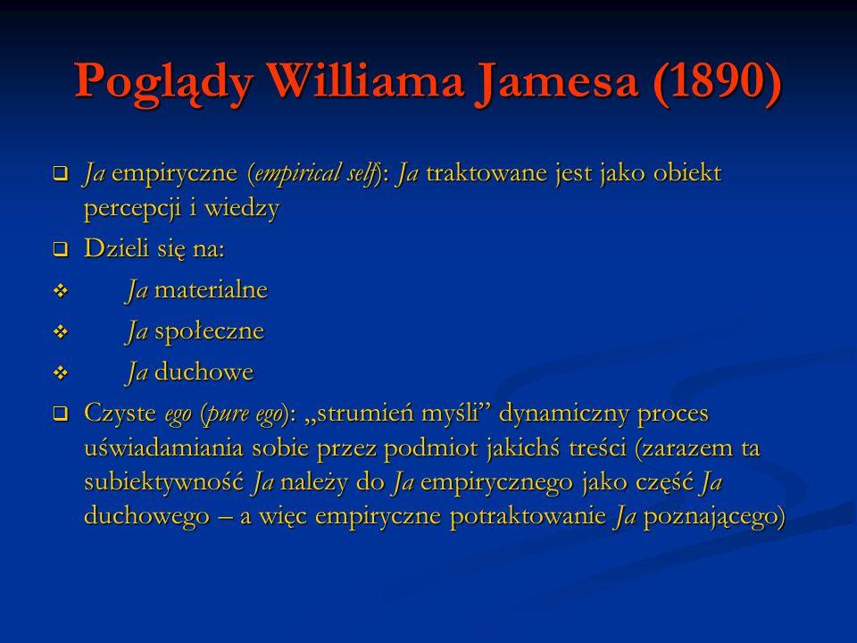 Poglądy Williama Jamesa (1890) Ja empiryczne (empirical self): Ja traktowane jest jako obiekt percepcji i wiedzy Ja empiryczne (empirical self): Ja tr