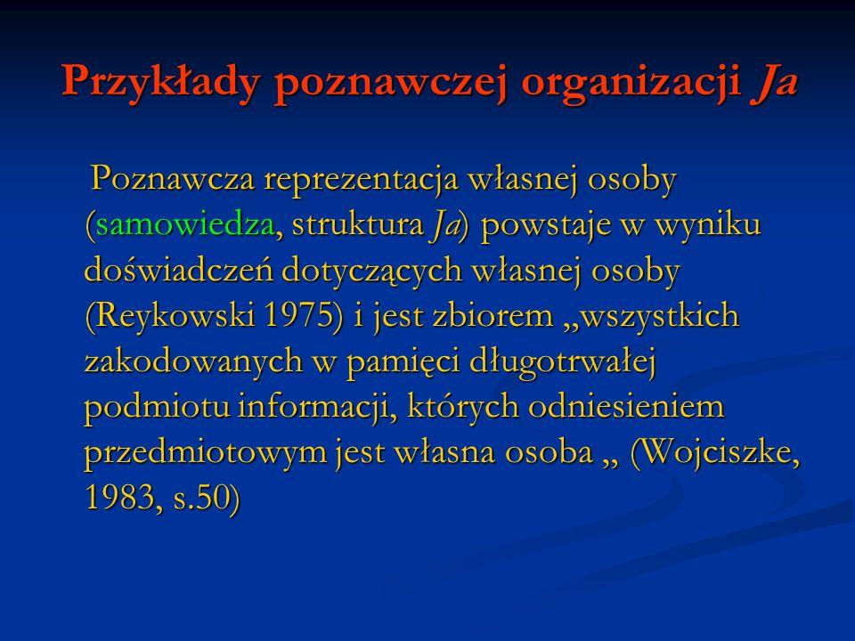 Przykłady poznawczej organizacji Ja Poznawcza reprezentacja własnej osoby (samowiedza, struktura Ja) powstaje w wyniku doświadczeń dotyczących własnej